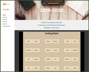 Home Page with Seating Chart