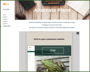 Alternate Plans Page Showing Link to Frogs Website