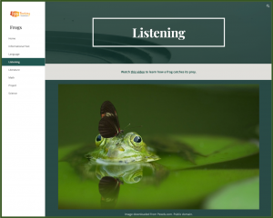 Frogs Website Listening Page with Photo and Link to Video