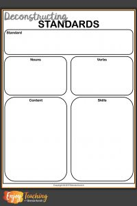 Free Deconstructing Standards Template from Enjoy Teaching with Brenda Kovich