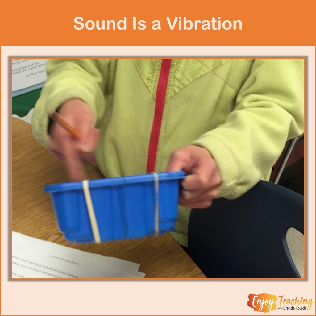 Vibrations create sound and move colored sand.