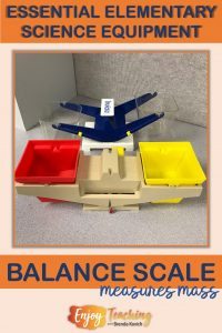 A balance scale measures mass. Every elementary school classroom should have one (or more).