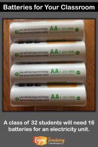 For a class of 32 students, you'll need 16 batteries. That way, you can use one battery for pairs of students or two batteries for groups of four.