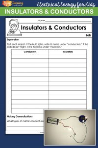 Looking for some great electricity activities for kids? Try this conductors and insulators lab. It's just right for fourth grade.