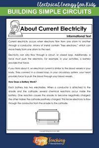 As you introduce simple circuits to fourth grade students, provide some background information about current electricity.