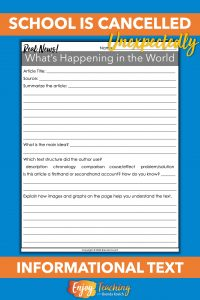 When school is cancelled unexpectedly, use this template to practice informational text skills with a news article. It's great for kids in third, fourth, and fifth grade.