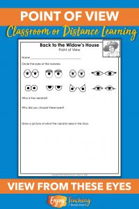 Use this creative activity to help kids find point of view. After reading the text, students choose the narrator's eyes and draw a picture of what he sees.