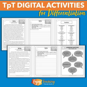 Differentiate instruction with TpT Digital Activities. Select different pages for different students. Vary expectations. You can reach each you teach!