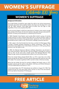 Teaching women's suffrage? Grab this free informational text to learn more.