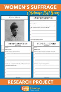 Celebrate the 100th anniversary of the 19th Amendment with this suffragettes research project. Fourth and fifth grade kids will learn about women's suffragettes through these activities for kids.