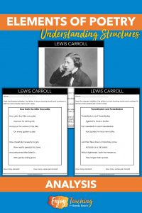 Use poems from kid-friendly poets like Lewis Carroll to teach elements. Kids can mark up the pages to show rhythm, rhyme, and more!
