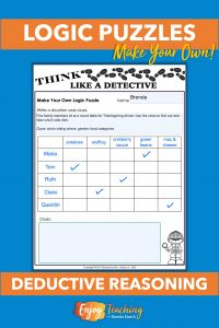 Kids can make their own logic puzzles! Begin with a blank table. Add a situation. Then fill in the first row and column. Use check marks to indicate matches.