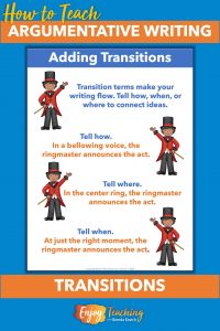 Help kids with transitions. Just ask them to tell how, where, or when.