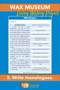 Provide an example of a monologue before your students write their own.