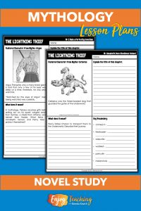 Kids read The Lightning Thief from the Percy Jackson and the Olympians series. For each chapter, they use a one-page worksheet to learn about a mythological character, summarize, make inferences, and define vocabulary.