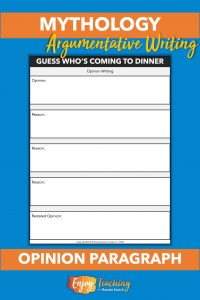 This simple organizer helps third and fourth grade students write opinion paragraphs related to Greek mythology.