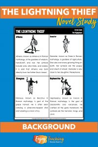 Before reading The Lightning Thief, kids explore background information pages to learn about Greek mythology.