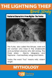Single-page chapter worksheets for The Lightning Thief have four panes. In the first pane, kids learn about a featured character from Greek mythology.