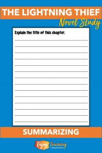 Single-page chapter worksheets for The Lightning Thief have four panes. In the second pane, kids summarize the chapter by explaining the title.