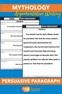 Third and fourth grade kids write persuasive paragraphs on which Greek god or goddess should be elected president.