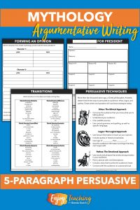 Upper elementary or middle school students write five-paragraph persuasive essays relating to Greek mythology. They list pros and cons to select the character, use an organizer to collect ideas, add transition terms, and use persuasive techniques.