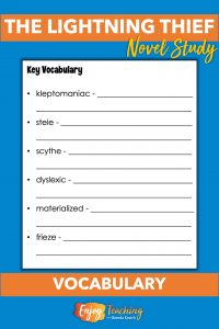 Single-page chapter worksheets for The Lightning Thief have four panes. In the fourth pane, kids learn key vocabulary.