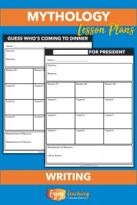 Kids use these templates to plan two five-paragraph argumentative essays. In the first, they write an opinion piece on which character from Greek mythology should be invited to dinner. In the second, they persuade others to vote for a god or goddess for president.