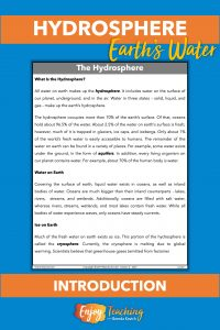 Fifth grade students read this two-page differentiated informational text to learn about the hydrosphere. Then they answer questions.