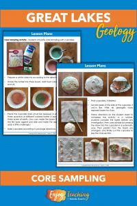 Images show how to bake three-colored cupcakes so kids can try core sampling. They draw a grid across the top of the cupcake. Then they stick a straw straight down into each section. By blowing on the top of the straw, they pop out a mini core sample.