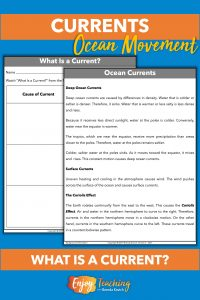 When teaching ocean currents, lead with this one-page summary. Follow up with a video and ask kids to take notes.