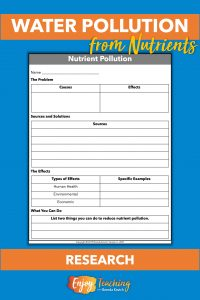 Students use a simple note-taking sheet to explore causes and effects of nutrient water pollution. They list sources and solutions, as well as effects. Finally, they write two things they can do to reduce eutrophication from nutrients.