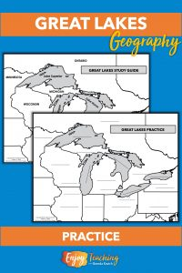 Kids study a printable map of the Great Lakes region. Then they practice identifying lakes and states with a blank map.