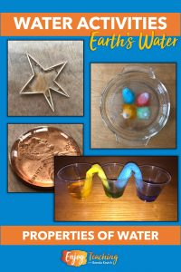 Four science experiments are shown. In the top left, kids use toothpicks and water to demonstrate adhesion. The top right shows water as a solvent for colored candies. In the bottom left, kids place drops of water on a penny to demonstrate cohesion. And at the bottom right, they experiment with colored water and paper towels to show capillary action.