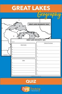 Kids look at a map of the Great Lakes. The lakes and major cities are labeled with letters. States and provinces are labeled with numbers. On a separate sheet they identify each.