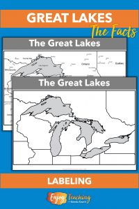A map with labels and another that's blank let kids identify locations the Great Lakes, as well as adjacent states, provinces, and cities.