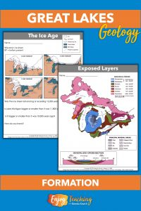 Public domain images from the EPA illustrate Great Lakes glaciers, as well as layers that were exposed by their scraping.