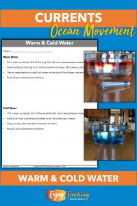 In this activity, students first add hot water to room temperature water and observe that the hot water floats on top. Then they add cold water to room temperature water and observe that it sinks to the bottom.