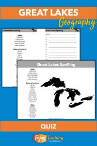 On the first page Great Lakes geography spelling words and a map appear. The second page is split in half. The words are on the left and lines to write on are on the right.