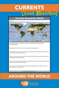 To wrap up teaching ocean currents, kids analyze a world map to answer a series of questions.
