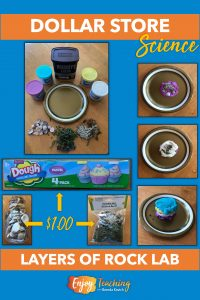 Kids use modeling dough, shells, and decorative moss to simulate layers of rock in this dollar store earth science lab.