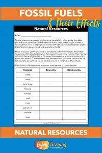This worksheet provides two paragraphs to teach fourth grade students about renewable and nonrenewable natural resources. Then they classify ten resources.