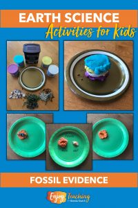 In one of the earth science activities, kids use modeling clay to simulate how fossil layers build up through deposition.