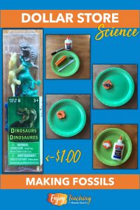 In the second dollar store earth science activity, kids press plastic dinosaurs into modeling clay. Then they fill the impression with white glue.