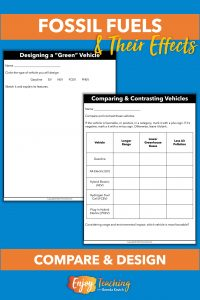 Kids use a table to compare and contrast vehicle types. Then they design a green vehicle of their own
