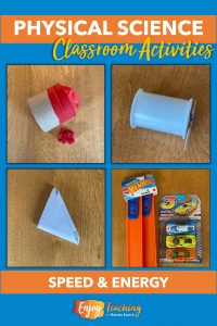 Activities use a launcher made of a toilet paper tube and balloon, a spool racer, a folded paper football, and Hot Wheels racetrack and cars.
