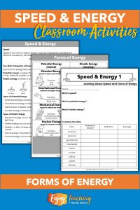 At the first speed and kinetic energy station, kids read about forms of energy.