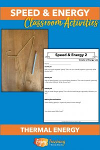 At the second speed and energy station, students explore how increasing speed increases heat.