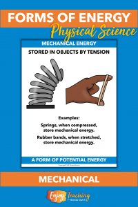 Mechanical energy occurs when energy is stored through tension, like a spring or rubber band.