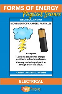 Electrical energy is caused by movement of charged particles. Lightning and a battery are examples.